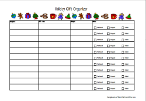 Holiday Gift Organizer