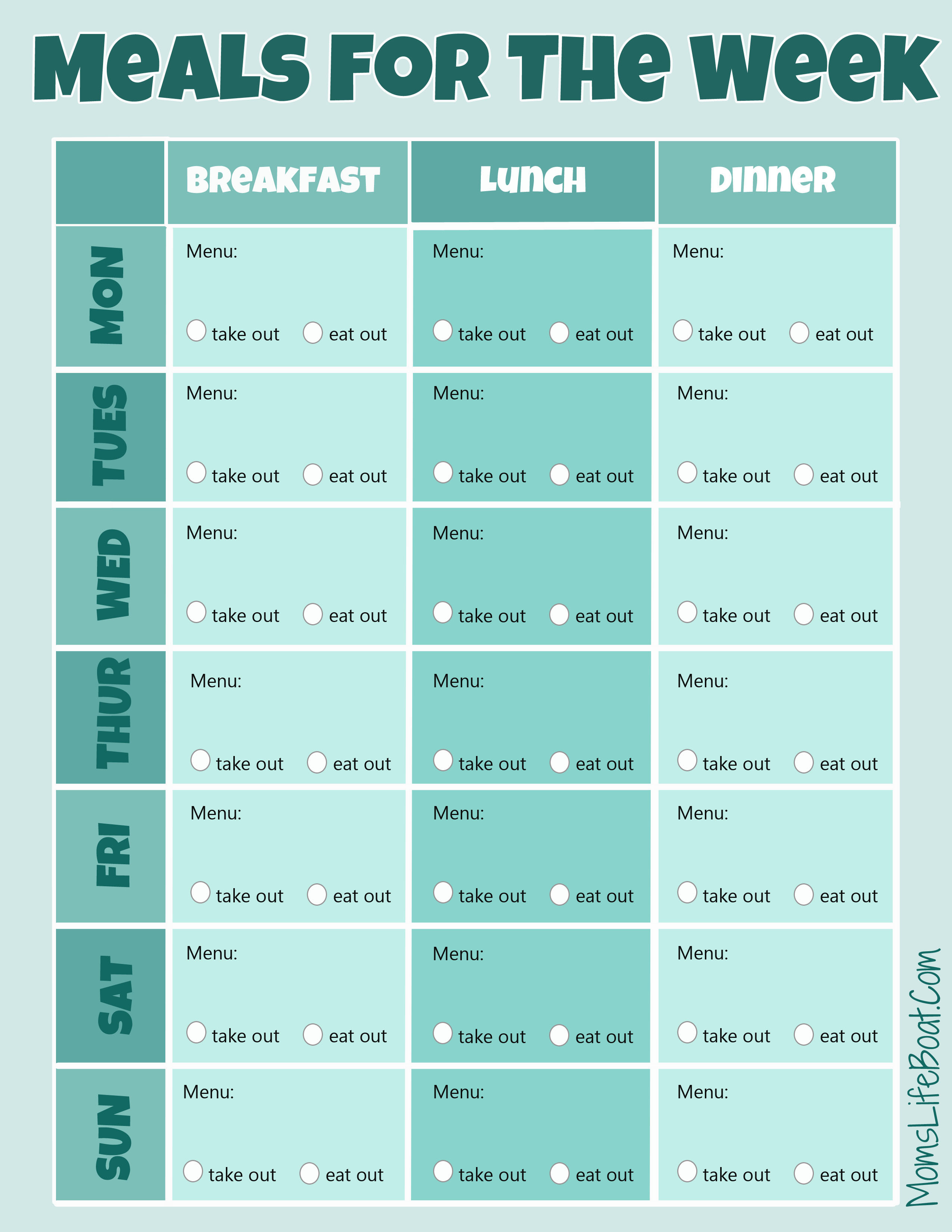 Free Menu Planner Printable - Full Color