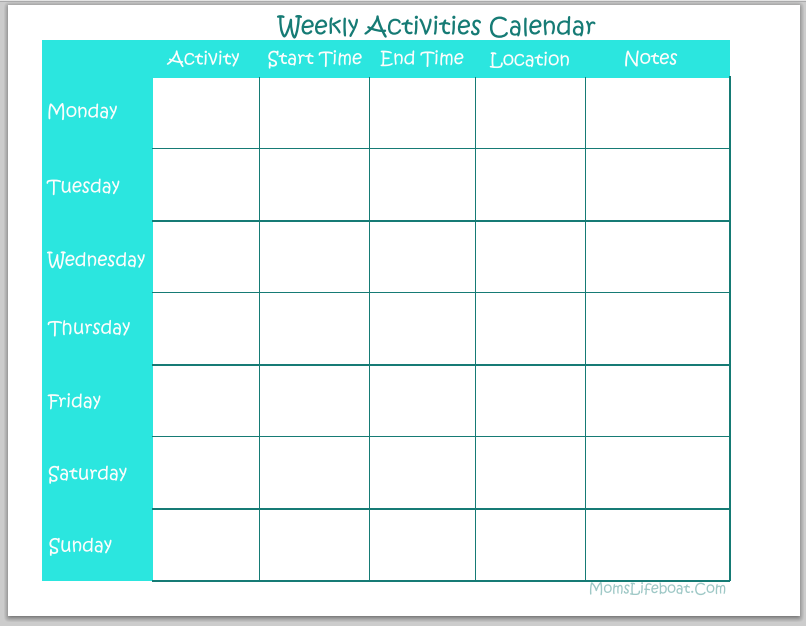 Weekly Activities Calendar Free Printable