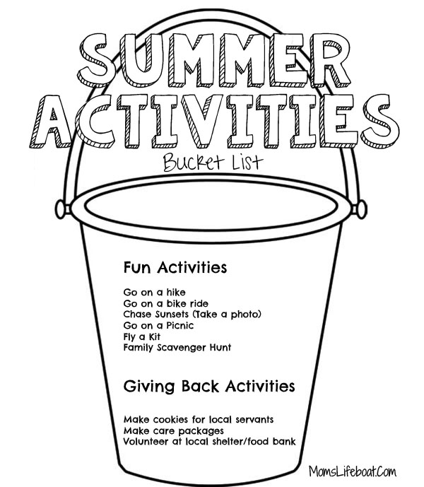 Summer Activities bucket list