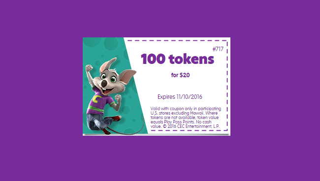 Chuck E Cheese Coupons and Deals