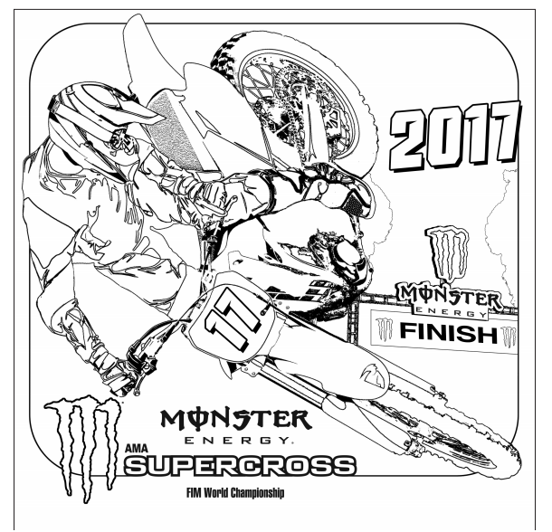 be sure to print this free monster energy supercross coloring sheet